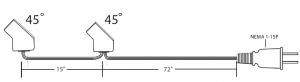 Daisy Chain Fan Cord - HP75-15-72P 45 Deg. Angle